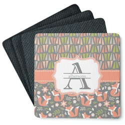 Fox Trail Floral 4 Square Coasters - Rubber Backed (Personalized)