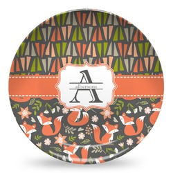 Fox Trail Floral Microwave Safe Plastic Plate - Composite Polymer (Personalized)