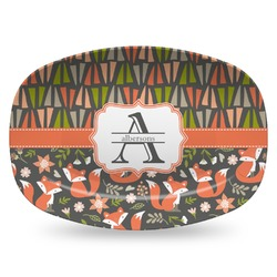 Fox Trail Floral Plastic Platter - Microwave & Oven Safe Composite Polymer (Personalized)