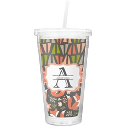 Fox Trail Floral Double Wall Tumbler with Straw (Personalized)