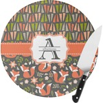 Fox Trail Floral Round Glass Cutting Board (Personalized)