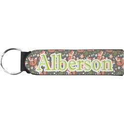 Fox Trail Floral Neoprene Keychain Fob (Personalized)