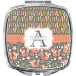 Fox Trail Floral Compact Makeup Mirror (Personalized)