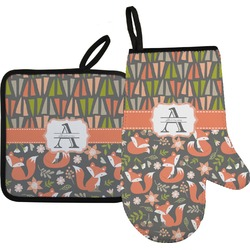 Fox Trail Floral Oven Mitt & Pot Holder (Personalized)