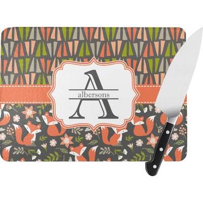 Fox Trail Floral Rectangular Glass Cutting Board (Personalized)