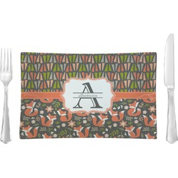 Fox Trail Floral Rectangular Glass Lunch / Dinner Plate - Single or Set (Personalized)