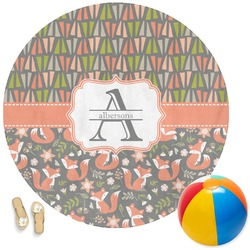 Fox Trail Floral Round Beach Towel (Personalized)
