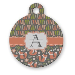 Fox Trail Floral Round Pet Tag (Personalized)