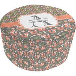 Fox Trail Floral Round Pouf Ottoman (Personalized)