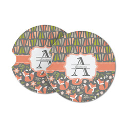 Fox Trail Floral Sandstone Car Coasters (Personalized)