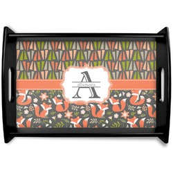 Fox Trail Floral Black Wooden Tray (Personalized)