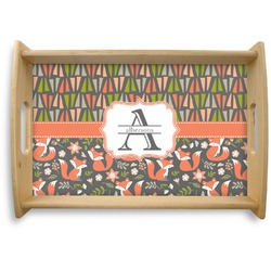 Fox Trail Floral Natural Wooden Tray (Personalized)