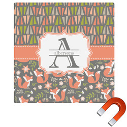 Fox Trail Floral Square Car Magnet (Personalized)