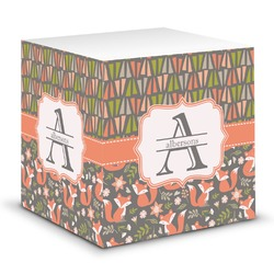 Fox Trail Floral Sticky Note Cube (Personalized)