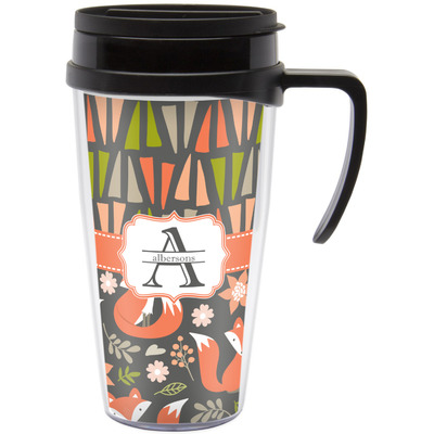 Fox Trail Floral Travel Mug with Handle (Personalized)