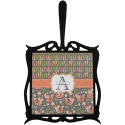 Fox Trail Floral Trivet with Handle (Personalized)