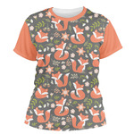 Fox Trail Floral Women's Crew T-Shirt (Personalized)