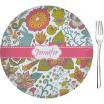 "Wild Garden Glass Appetizer / Dessert Plates 8"" - Single or Set (Personalized)"
