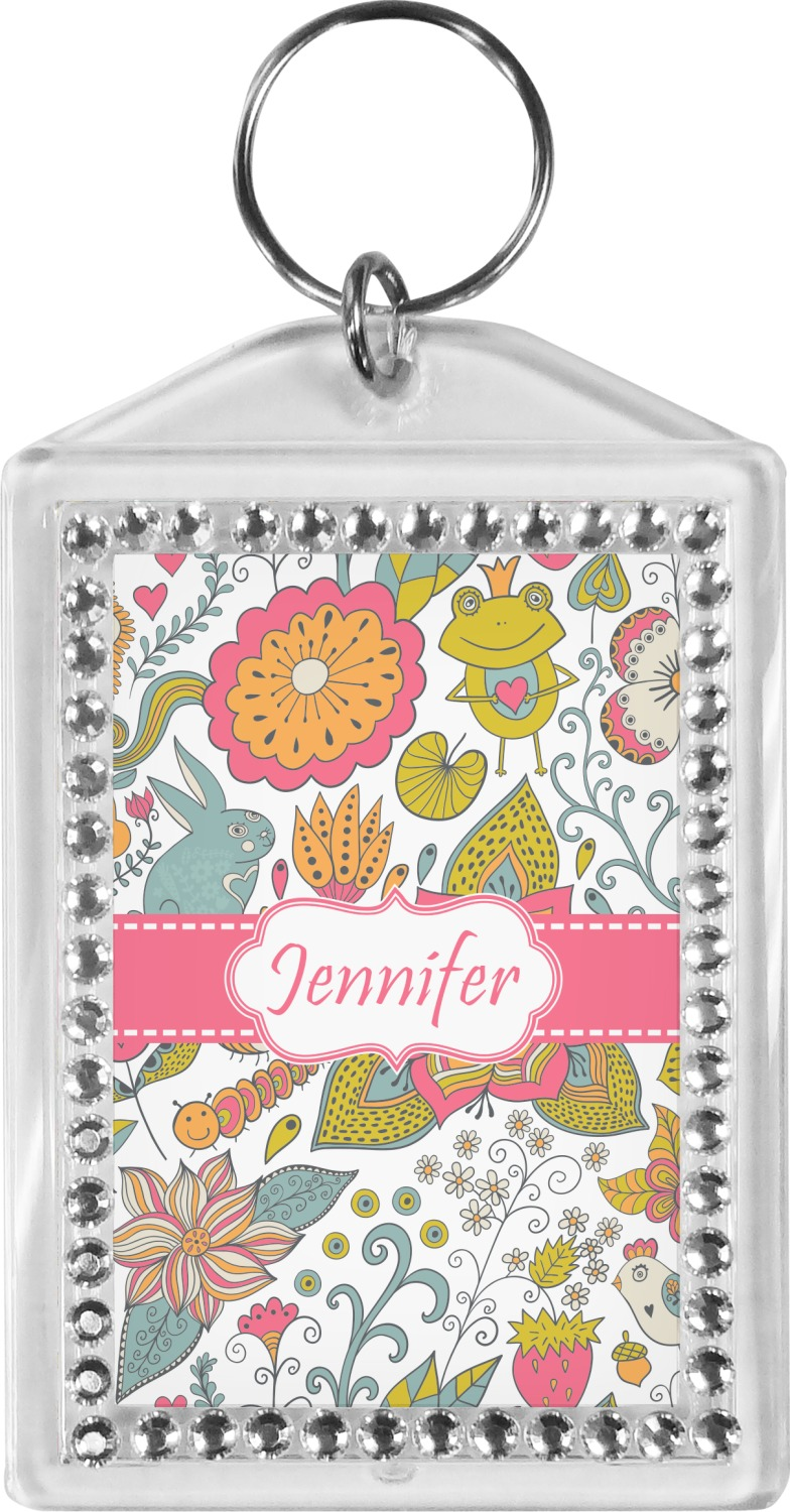 Wild Garden Bling Keychain Personalized You Customize It