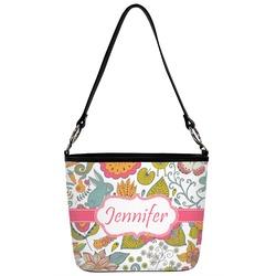 Wild Garden Bucket Bag w/ Genuine Leather Trim (Personalized)