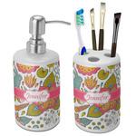Wild Garden Bathroom Accessories Set (Ceramic) (Personalized)