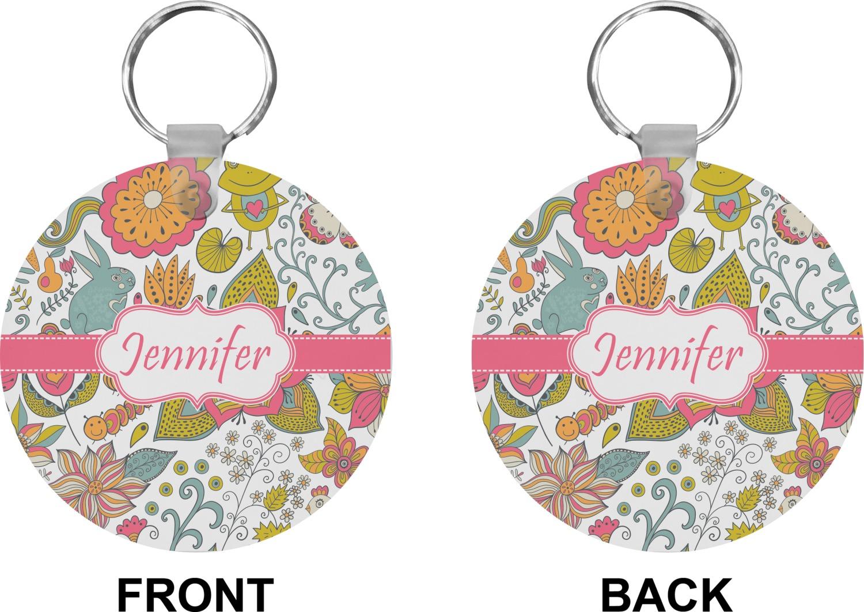 Wild Garden Round Keychain Personalized You Customize It