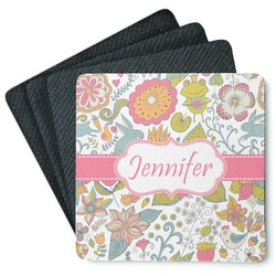 Wild Garden 4 Square Coasters - Rubber Backed (Personalized)