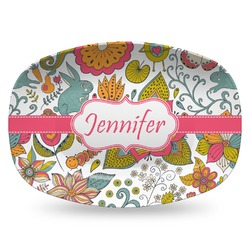 Wild Garden Plastic Platter - Microwave & Oven Safe Composite Polymer (Personalized)