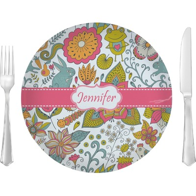 """Wild Garden 10"""" Glass Lunch / Dinner Plates - Single or Set (Personalized)"""