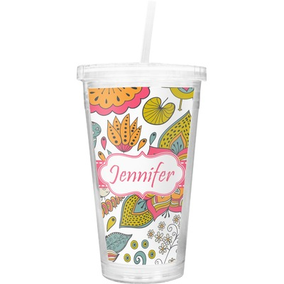 Wild Garden Double Wall Tumbler with Straw (Personalized)