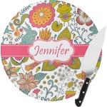 Wild Garden Round Glass Cutting Board (Personalized)