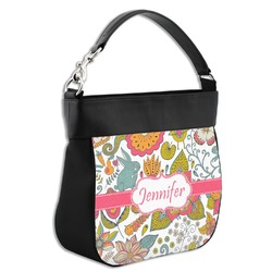 Wild Garden Hobo Purse w/ Genuine Leather Trim (Personalized)