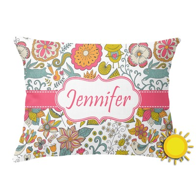 Wild Garden Outdoor Throw Pillow (Rectangular) (Personalized)