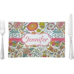 Wild Garden Glass Rectangular Lunch / Dinner Plate - Single or Set (Personalized)
