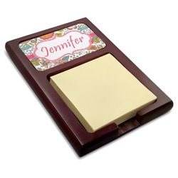 Wild Garden Red Mahogany Sticky Note Holder (Personalized)