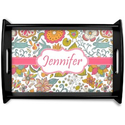 Wild Garden Black Wooden Tray (Personalized)