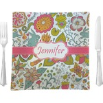"""Wild Garden Glass Square Lunch / Dinner Plate 9.5"""" - Single or Set of 4 (Personalized)"""
