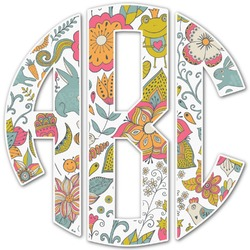 Wild Garden Monogram Decal - Custom Sizes (Personalized)
