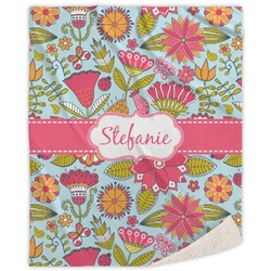 Wild Flowers Sherpa Throw Blanket (Personalized)