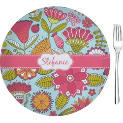 """Wild Flowers Glass Appetizer / Dessert Plates 8"""" - Single or Set (Personalized)"""