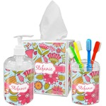 Wild Flowers Acrylic Bathroom Accessories Set w/ Name or Text