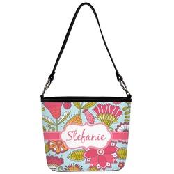Wild Flowers Bucket Bag w/ Genuine Leather Trim (Personalized)