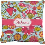 Wild Flowers Faux-Linen Throw Pillow (Personalized)