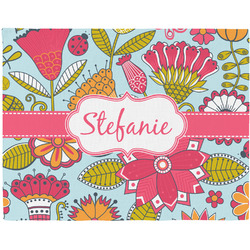 Wild Flowers Woven Fabric Placemat - Twill w/ Name or Text