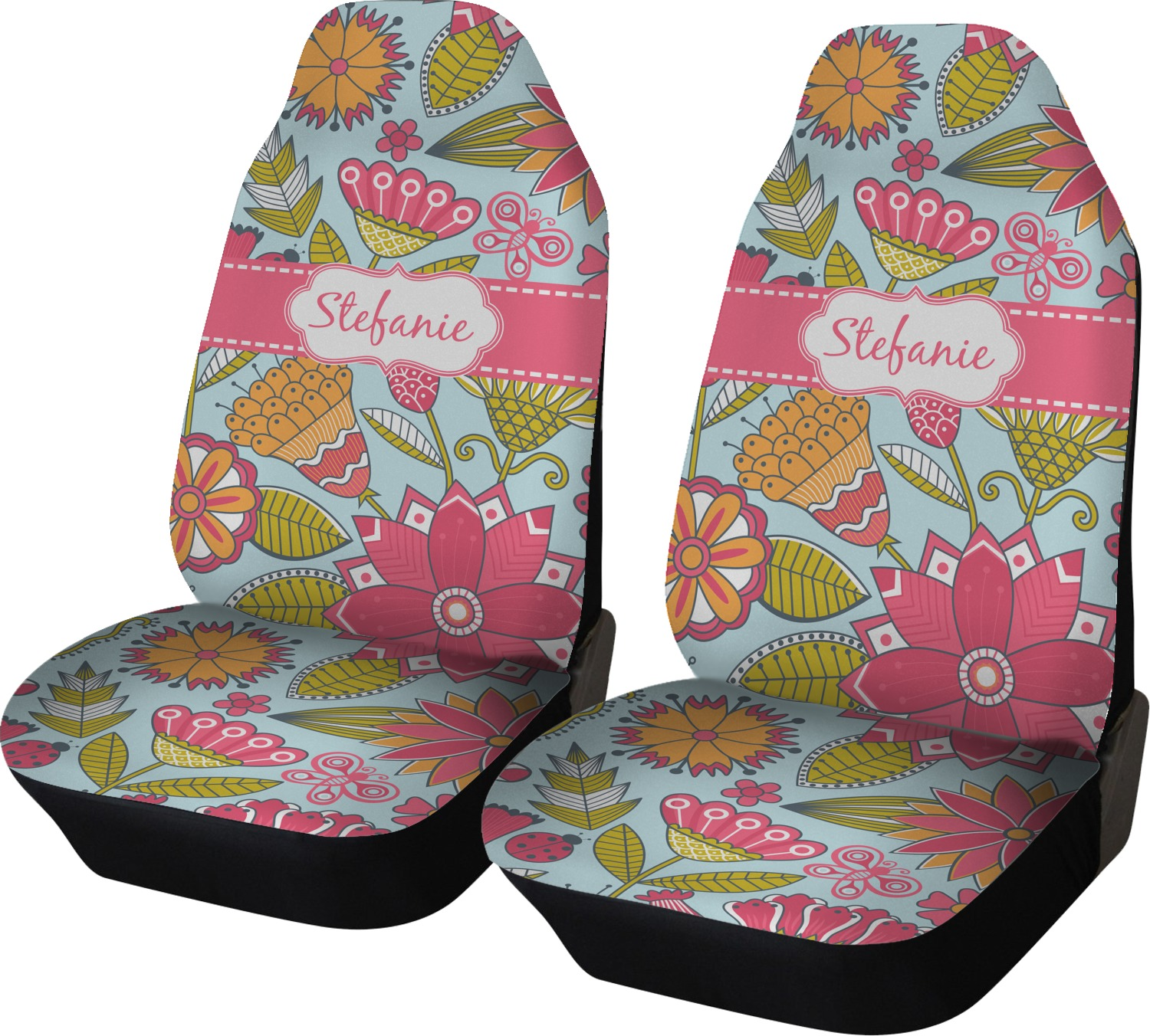 wild flowers car seat covers set of two personalized you customize it. Black Bedroom Furniture Sets. Home Design Ideas