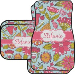 Wild Flowers Car Floor Mats Set - 2 Front & 2 Back (Personalized)