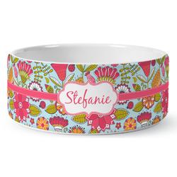 Wild Flowers Ceramic Dog Bowl (Personalized)