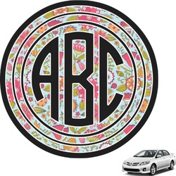 Wild Flowers Circle Monogram Car Decal (Personalized)