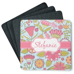 Wild Flowers 4 Square Coasters - Rubber Backed (Personalized)