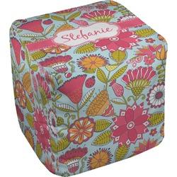 Wild Flowers Cube Pouf Ottoman (Personalized)